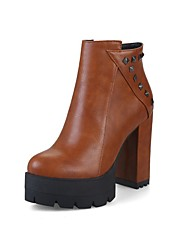 cheap -Women's Boots Chunky Heel Round Toe Rivet / Buckle Faux Leather Booties / Ankle Boots Casual / Minimalism Fall & Winter Black / Brown / Red