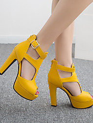 cheap -Women's Sandals Chunky Heel Peep Toe Buckle PU Booties / Ankle Boots Vintage / Casual Spring &  Fall / Spring & Summer Black / White / Yellow / Party & Evening