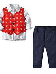 cheap -Kids Boys' Basic Christmas Home Print Cartoon Print Long Sleeve Regular Regular Clothing Set Red