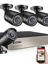 cheap -ZOSI 4 CH CCTV System 4PCS 720p Outdoor Weatherproof Security Camera DVR Kit Day/Night Home Video Surveillance System