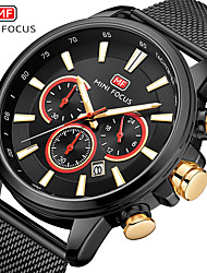 cheap -MINI FOCUS Men's Dress Watch Quartz Formal Style Modern Style Black / Silver / Gold 30 m Water Resistant / Waterproof Chronograph Casual Watch Analog Classic Fashion - Black Gold Blue