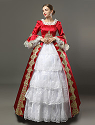 cheap -Princess Goddess Dress Cosplay Costume Masquerade Ball Gown Women's Rococo Medieval Renaissance Party Prom Christmas Halloween Carnival Festival / Holiday Lace Organza Red and White Carnival Costumes