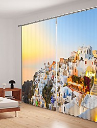 abordables -Petite ville impression numérique 3d rideau rideau ombrage avec couleur graduelle coucher de soleil haute précision noir tissu de soie rideau de haute qualité