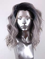 cheap -Synthetic Lace Front Wig Wavy Side Part Lace Front Wig Short Ombre Color Synthetic Hair 12-16 inch Women's Adjustable Heat Resistant Party Gray Ombre