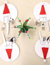 cheap -10 Pcs/Set Christmas Hat Cutlery Bag Candy Gift Bags Cute Pocket Fork Cutter Holder Table Dinner Decoration