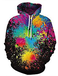cheap -Men's Casual / Basic Hoodie - 3D / Rainbow / Tie Dye Black US32 / UK32 / EU40