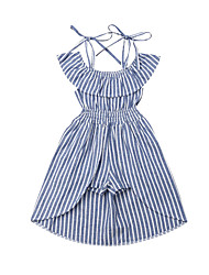 cheap -Baby Girls' Basic Blue & White Striped Sleeveless Dress Blue