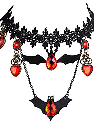 cheap -Black Tattoo Choker Necklace Vintage Victorian Gathic Halloween Lace Alloy For Masquerade Party / Cocktail Halloween Carnival Women's Costume Jewelry Fashion Jewelry