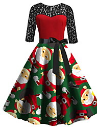 cheap -Women's Red Dress Elegant Christmas Party Sheath Geometric Print S M