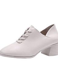 cheap -Women's Heels Chunky Heel Round Toe PU Minimalism Fall Black / Beige