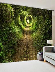 cheap -Path in The Forest Digital Printing 3D Curtain Shading Curtain High Precision Black Silk Fabric High Quality Curtain