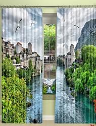 abordables -petite ville dans la jungle impression numérique 3d rideau rideau d'ombrage haute précision noir tissu de soie rideau de haute qualité