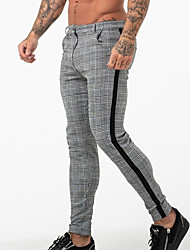 cheap -Men's Stylish Pants Formal Cotton Slim Formal Daily Wear Casual / Daily Chinos Pants Plaid Checkered Full Length Formal Style White Black