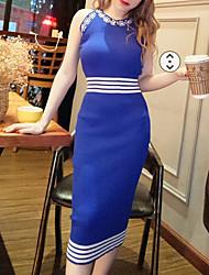 cheap -Women's Daily Wear Basic Sheath Dress - Striped Patchwork Black Blue One-Size