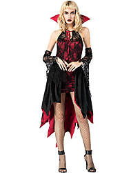 cheap -Vampire Halloween Props Adults' Women's Cosplay Halloween Halloween Festival Halloween Masquerade Festival / Holiday Terylene Polyster Red+Black Women's Carnival Costumes Lace / Dress / Gloves
