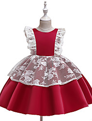 cheap -Baby Girls' Active Butterfly Solid Colored Lace / Backless / Bow Sleeveless Above Knee Dress Blushing Pink