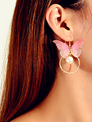 cheap -Women's Earrings Princess Square Butterfly Artistic Dangling Sweet Boho Elegant Imitation Pearl Earrings Jewelry Light Pink For Wedding Graduation Engagement Daily Festival 1 Pair