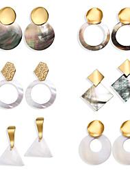 cheap -Women's Hoop Earrings Geometrical Joy Dainty Unique Design Natural Shell Earrings Jewelry Rainbow For Graduation Carnival Street Six-piece Suit