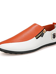 cheap -Men's Comfort Shoes PU Fall Casual Loafers & Slip-Ons Wear Proof Color Block Black and White / Orange / Party & Evening