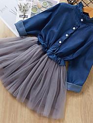 cheap -Kids Girls' Color Block Knee-length Dress Light Blue