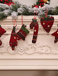 abordables -6pcs noel décoration cadeaux arbre ornement fête à la maison