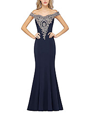 cheap -Mermaid / Trumpet Off Shoulder Sweep / Brush Train Polyester Open Back Formal Evening Dress with Appliques / Crystals 2020