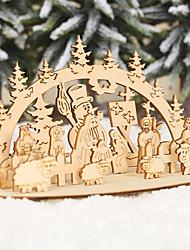 Недорогие -поделки новогодняя деревянная игрушка партия украшения трехмерные деревянные украшения дети