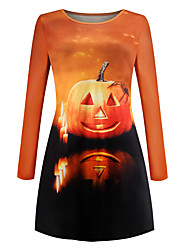 cheap -Pumpkin Dress Adults' Women's Retro Vintage Halloween Halloween Festival / Holiday Polyester Orange Women's Carnival Costumes