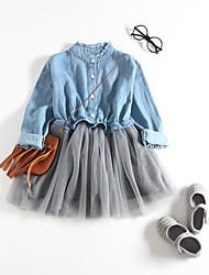 abordables -bébé Fille Actif Mosaïque / Couleur Pleine Mosaïque Manches Longues Robe Bleu clair