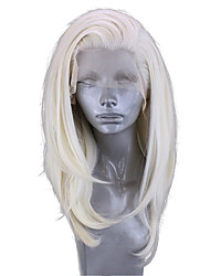 cheap -Synthetic Lace Front Wig Wavy Side Part Lace Front Wig Blonde Short Platinum Blonde Synthetic Hair 14-16 inch Women's Adjustable Heat Resistant Party Blonde