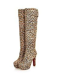 cheap -Women's Boots Over-The-Knee Boots Stiletto Heel Round Toe PU Over The Knee Boots Fall & Winter Black / Brown / Leopard