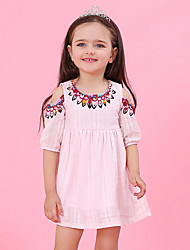 cheap -Kids Toddler Girls' Sweet Cute Solid Colored Tribal Print Short Sleeve Above Knee Dress White