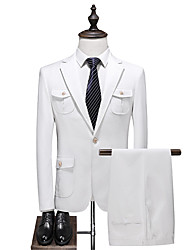 cheap -White Solid Colored Slim Fit Polyester Suit - Notch Single Breasted One-button