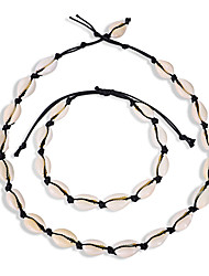 cheap -Women's Necklace Bracelet Braided Shell Classic Vintage Trendy Fashion Boho Shell Earrings Jewelry Black / Brown / White For Gift Daily Holiday Festival Two-piece Suit