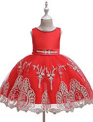 cheap -Kids Girls' Sweet Cute Floral Bow Sleeveless Knee-length Dress Black