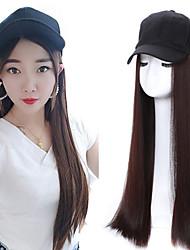 cheap -Synthetic Wig Straight Middle Part Wig Long Medium Auburn Dark Auburn Natural Black Medium Brown Synthetic Hair 20 inch Women's Women Black
