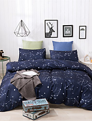 cheap -Duvet Cover Sets Ultra Soft Polyester/ Polyamide/ Romantic Starry Night/ Dark Blue&White/ Printed 3 Piece Bedding Sets