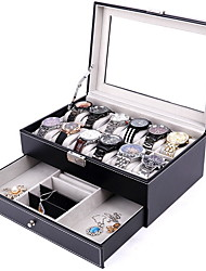 cheap -Watch Box, 12 Slots PU Leather Case Organizer with Jewelry Drawer for Storage and Display