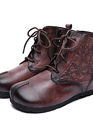 cheap -Women's Boots Comfort Shoes Flat Heel Round Toe PU Booties / Ankle Boots Fall & Winter Brown / Coffee