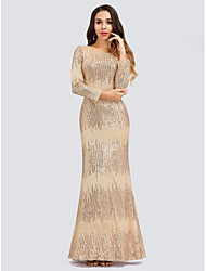cheap -Mermaid / Trumpet Elegant Formal Evening Dress Jewel Neck Long Sleeve Floor Length Tulle Sequined with Sequin 2020