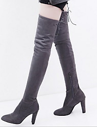 cheap -Women's Boots Over-The-Knee Boots Chunky Heel Pointed Toe Suede Over The Knee Boots Fall & Winter Black / Red / Gray