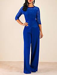 cheap -Women's Active Black Wine Blue Jumpsuit, Solid Colored Lace S M L