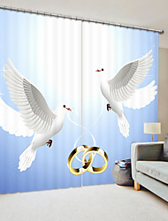 cheap -White Dove Digital Printing 3D Curtain With a Pair of Rings High Precision Black Silk Fabric High Quality Curtain