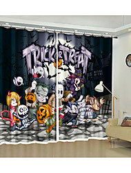 cheap -Halloween Fabric Decoration imp Party Digital Printing 3d Curtain Festival Halloween Shading Curtain High Precision Black Silk Fabric High Quality Level Shading Bedroom Living Room cCurtain