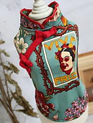 cheap -Dogs Cats Pets Dress Dog Clothes Green Costume Polyster Print Ethnic Fashion XS S M L XL XXL