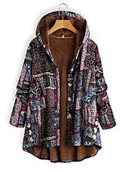 abordables -Femme Quotidien Basique Normal Manteau, Géométrique Capuche Manches Longues Polyester Violet / Orange