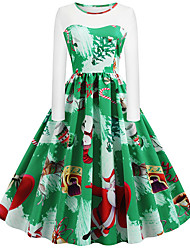 cheap -Women's Plus Size Red Green Dress Basic Christmas Party Daily Wear A Line Geometric Print S M