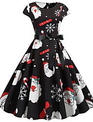 cheap -Women's Christmas Party Daily Wear Basic A Line Dress - Color Block Black S M L XL