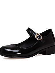 cheap -Women's Flats Chunky Heel Round Toe PU Spring & Summer Black / Wine / Blue / Party & Evening