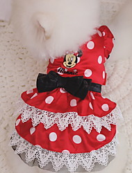 cheap -Dogs Cats Pets Dress Dog Clothes Red Costume Polyster Polka Dot Bowknot Sweet Style XXS